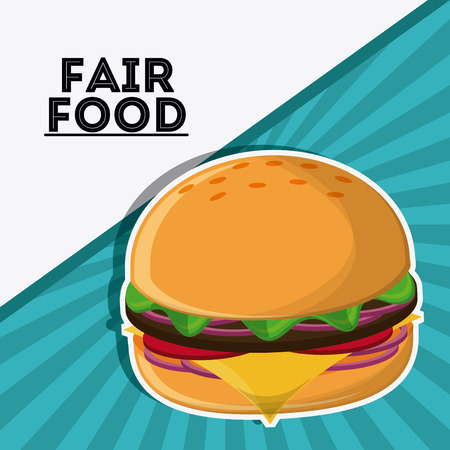 county fair: hamburger fair food snack carnival festival icon. Colorfull illustration. Vector graphic