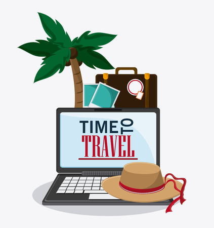 laptop palm tree hat camera picture time to travel vacations trip icon. Colorfull illustration. Vector graphic