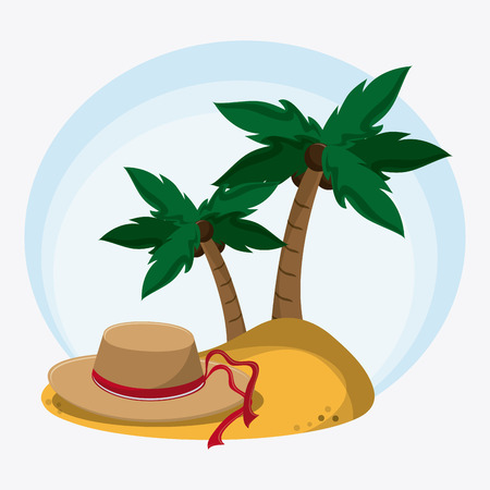 recreational: palm tree hat time to travel vacations trip icon. Colorfull illustration. Vector graphic