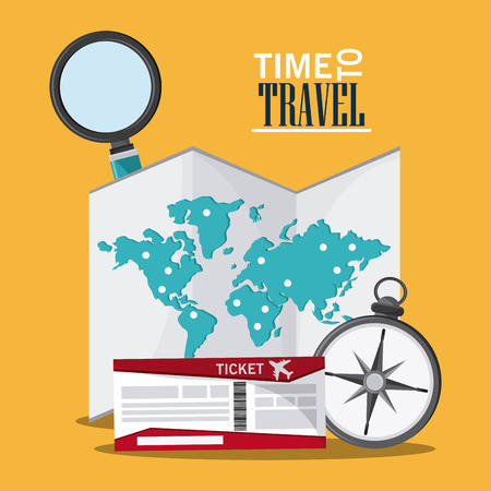 lupe: map ticket compass lupe searching time to travel vacations trip icon. Colorfull illustration. Vector graphic Illustration