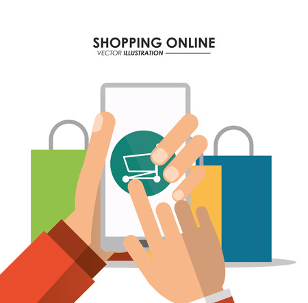 smartphone shopping cart bag online ecommerce icon. Colorfull illustration. Vector graphic
