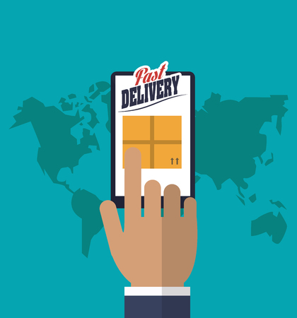 smartphone in hand: smartphone hand box package fast delivery shipping icon. Colorfull illustration. Vector graphic