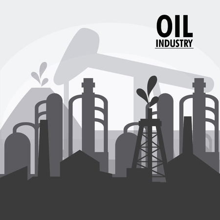 petrochemical: oil pump industry production petroleum icon. Silhouette illustration