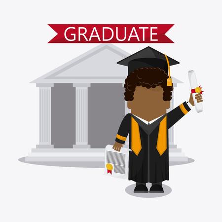 Graduation Cap Building Diploma Cartoon Boy Graduate University Icon Vector Illustration Stock