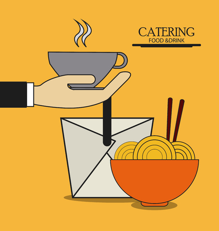 catering service: box mug noodle catering service menu food icon, Vector illustration