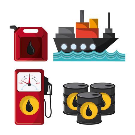 petrochemical plant: ship dispenser barrel drop oil industry production petroleum icon, vector illustration