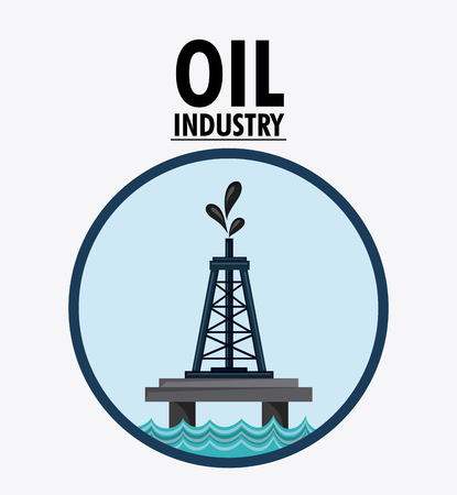 polluting: tower seal stamp oil industry production petroleum icon, vector illustration