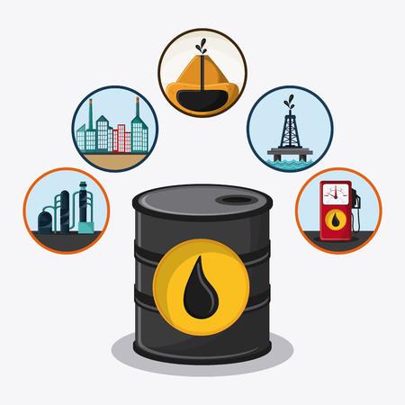 barrel drop tower dispenser oil industry production petroleum icon, vector illustration Illustration