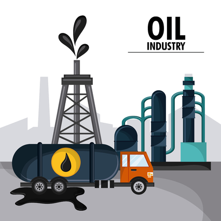tower truck oil industry production petroleum icon, vector illustration Illustration