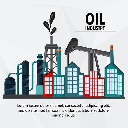 polluting: tower oil pump industry production petroleum icon, vector illustration Illustration