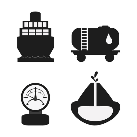 gas gauge: gauge ship drop container earth oil industry production petroleum icon. Silhouette and isolated illustration