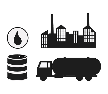 petrochemical plant: oil industry production petroleum icon. Silhouette and isolated illustration Illustration