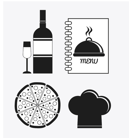catering service: wine bottle cup pizza chefs hat book catering service menu food icon. Silhouette illustration