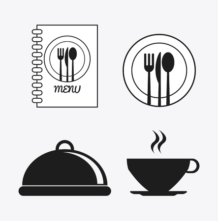 catering service: book cutlery plate mug catering service menu food icon. Silhouette illustration