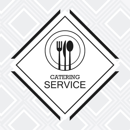 plate of food: cutlery plate catering service menu food icon. Silhouette illustration