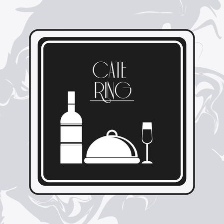 plate of food: plate wine bottle cup catering service menu food icon. Silhouette illustration
