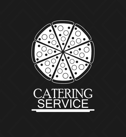 catering service: pizza catering service menu food icon. Silhouette illustration Illustration