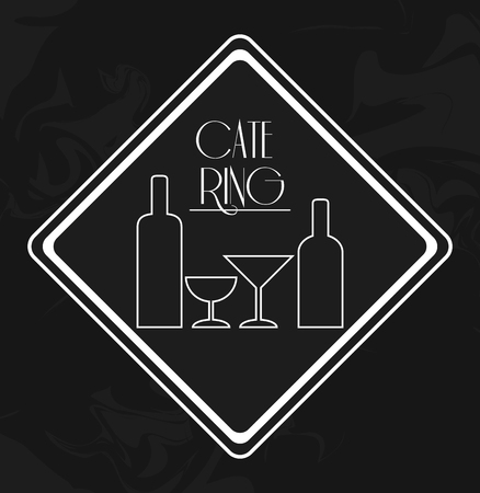 catering service: wine bottle cup catering service menu food icon. Silhouette illustration. Grunge background