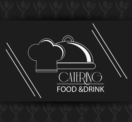 catering service: chefs hat plate catering service menu food icon. Silhouette illustration Illustration