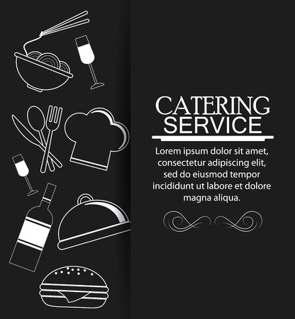 plate of food: wine noodle cutlery plate hamburger chefs hat catering service menu food icon. Silhouette illustration Illustration