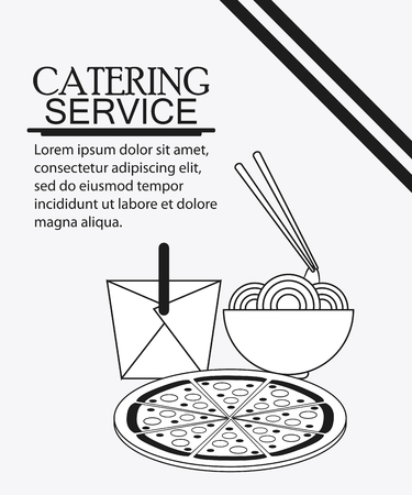 catering service: box noodle pizza catering service menu food icon. Silhouette illustration