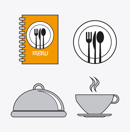 catering service: book cutlery plate mug catering service menu food icon