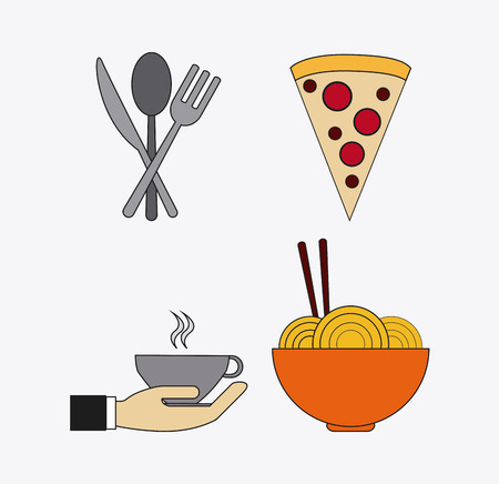 catering service: cutlery pizza mug hand noodle catering service menu food icon Illustration