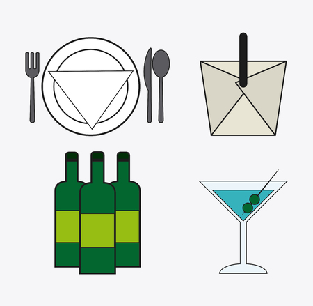 plate of food: cutlery plate box cocktail bottle wine catering service menu food icon
