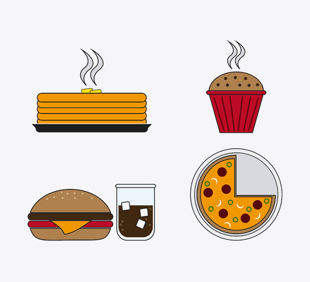 dessert buffet: cake hamburger soda muffin pizza catering service menu food icon