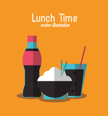 coke: soda rice coke lunch time menu icon. Colorfull and flat illustration, vector