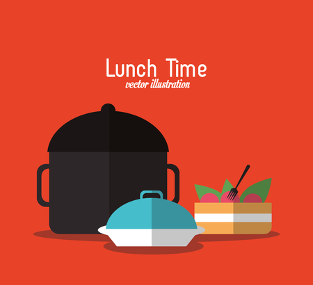 cake plate: plate cake pot lunch time menu icon. Colorfull and flat illustration, vector