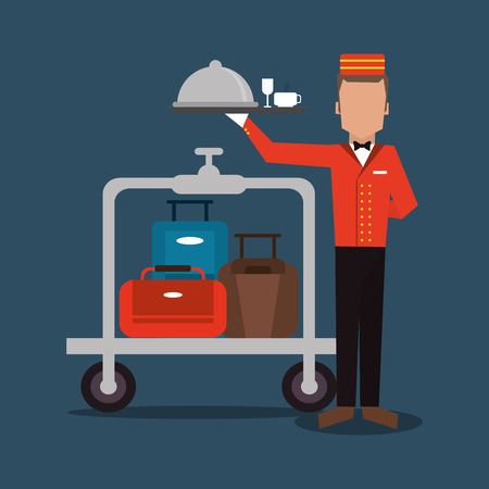 bellboy: bellboy baggage luggage hotel service icon. Colorfull and flat illustration, vector