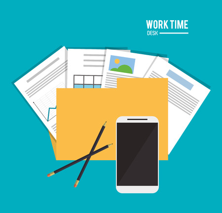 file folder: file folder infographic document pencil smartphone office work time supply icon. Colorfull and flat illustration, vector Illustration
