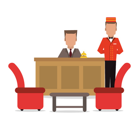 receptionist: bellboy receptionist chairs hotel service icon. Colorfull and flat illustration, vector