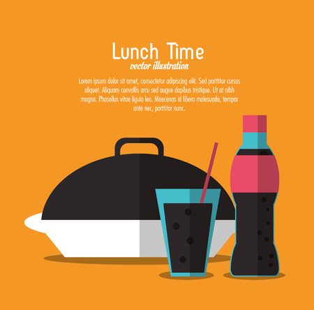 soda coke plate lunch time menu icon. Colorfull and flat illustration, vector