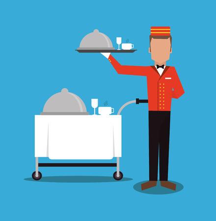 room service: bellboy waiter menu plate room service hotel icon. Colorfull and flat illustration, vector Illustration