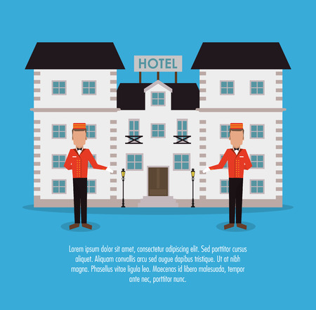 bellboy: building bellboy hotel service icon. Colorfull and flat illustration, vector Illustration