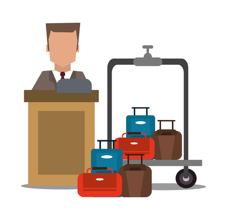 receptionist: receptionist baggage luggage hotel service icon. Colorfull and flat illustration, vector Illustration
