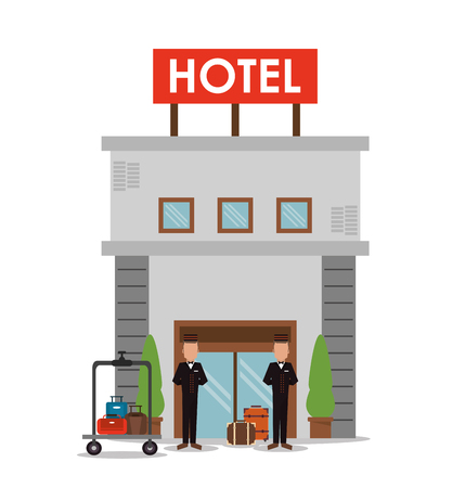 bellboy: building bellboy baggage luggage hotel service icon. Colorfull and flat illustration, vector Illustration