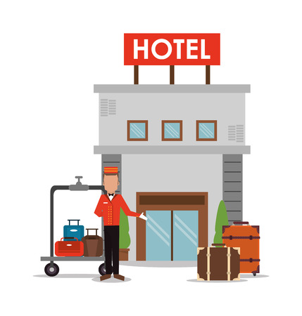 bellboy: bellboy baggage luggage building hotel service icon. Colorfull and flat illustration, vector Illustration