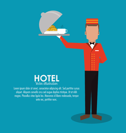 bellboy waiter menu plate room service hotel icon. Colorfull and flat illustration, vector Illustration