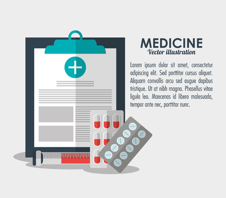 medical history: medicine medical history health care icon. Colorfull and flat illustration Illustration