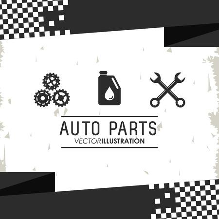Schraubenschlüssel Getriebe Autoreparatur Maschine Garage Symbol Fahrzeug Auto-Teile Benzin. Isoliert und Grunge Illustration