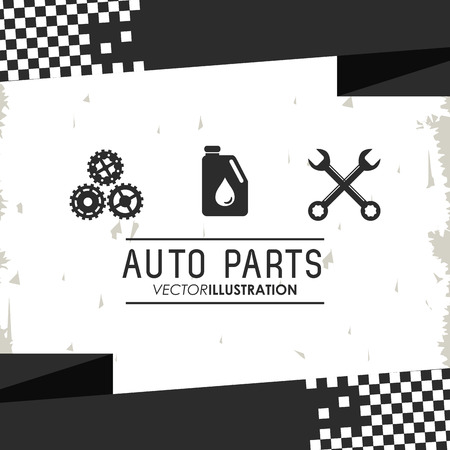 machine parts: wrench gear gasoline auto parts vehicle car repair machine garage icon. Isolated and grunge illustration Illustration