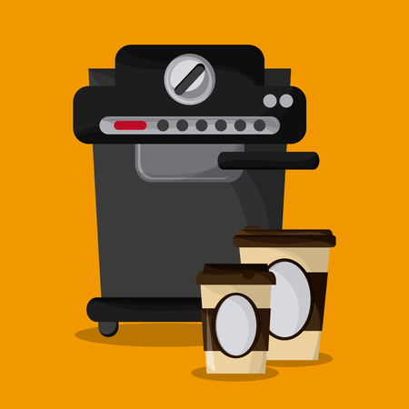 machine shop: Coffee mug cup machine shop beverage icon. drink and break time design. Colorfull and flat illustration vector
