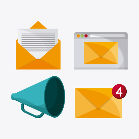 envelope megaphone mail message chat communication icon. Colorfull and flat illustration vector