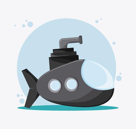 transporter: Submarine transportation vehicle travel. Colorfull and flat , vector Illustration