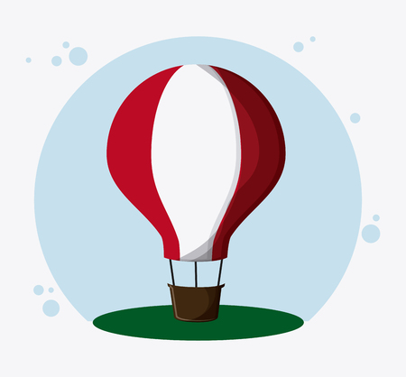 transporter: Hot air balloon transportation vehicle travel. Colorfull and flat , vector