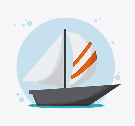 Sailboat transportation vehicle travel. Colorfull and flat , vector Stock Photo