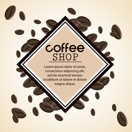 time frame: Coffee bean frame shop beverage icon. drink and break time design, vector illustration Illustration